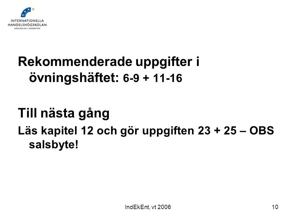 Rekommenderade uppgifter i övningshäftet: 6-9 + 11-16
