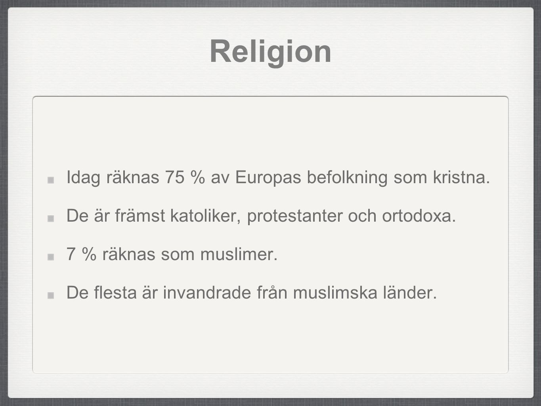 Religion Idag räknas 75 % av Europas befolkning som kristna.