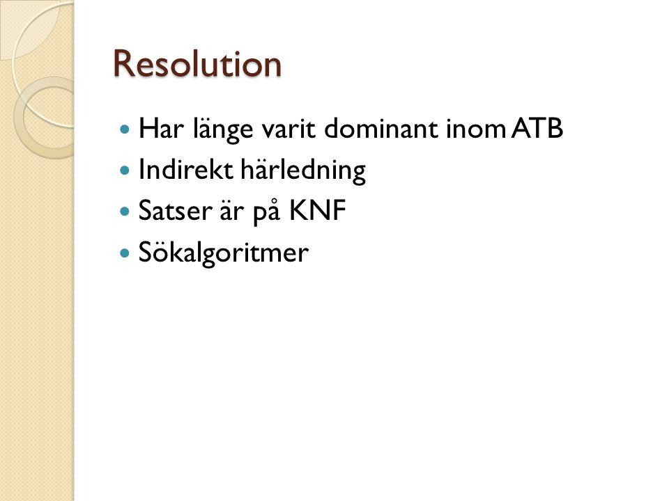 Resolution Har länge varit dominant inom ATB Indirekt härledning