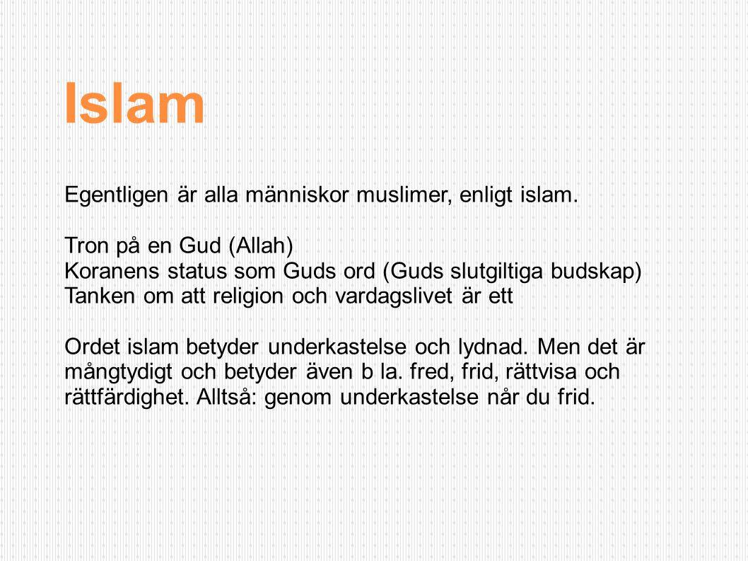 Islam Egentligen är alla människor muslimer, enligt islam.