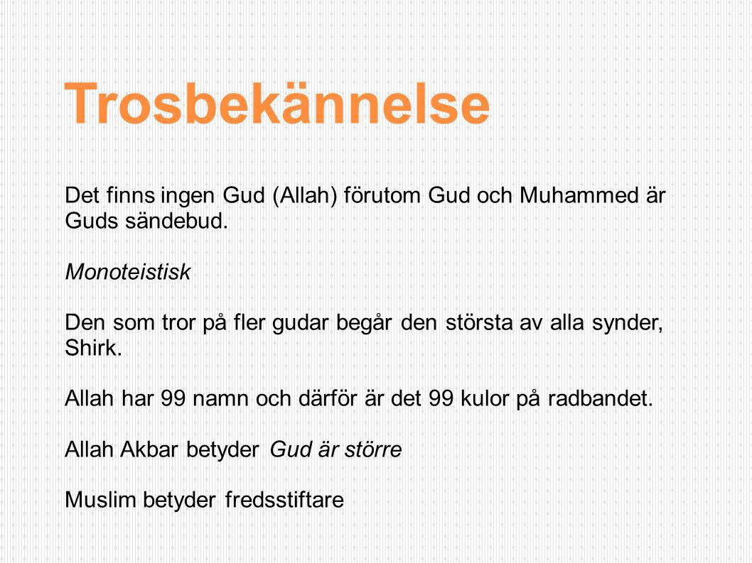 Trosbekännelse Det finns ingen Gud (Allah) förutom Gud och Muhammed är Guds sändebud. Monoteistisk.