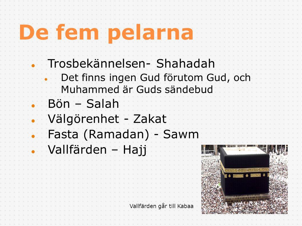 De fem pelarna Trosbekännelsen- Shahadah Bön – Salah