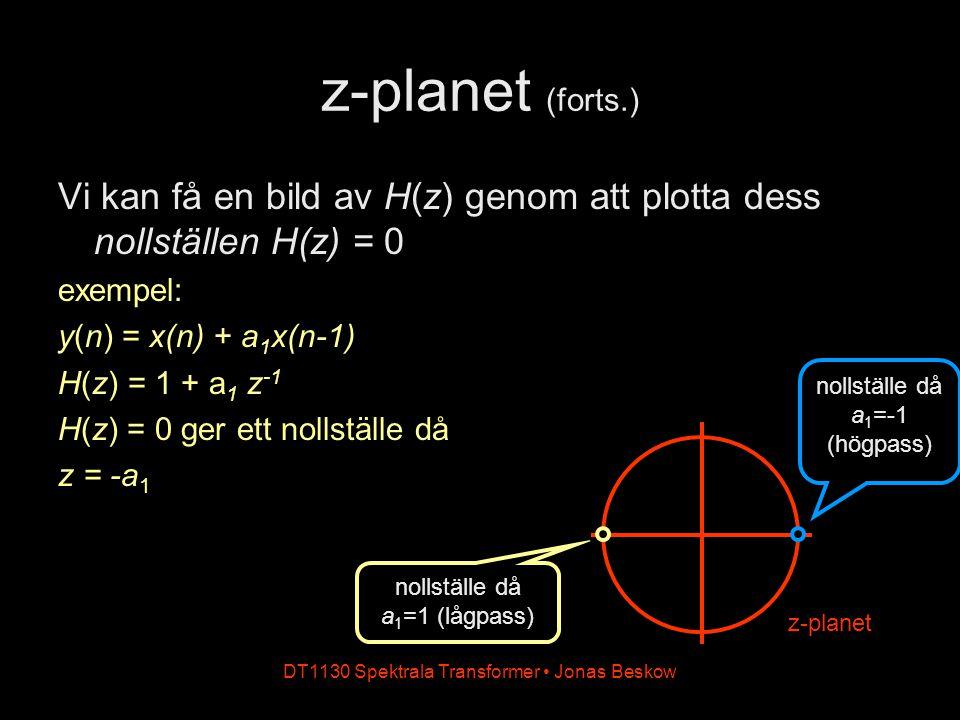 z-planet (forts.) Vi kan få en bild av H(z) genom att plotta dess nollställen H(z) = 0. exempel: y(n) = x(n) + a1x(n-1)