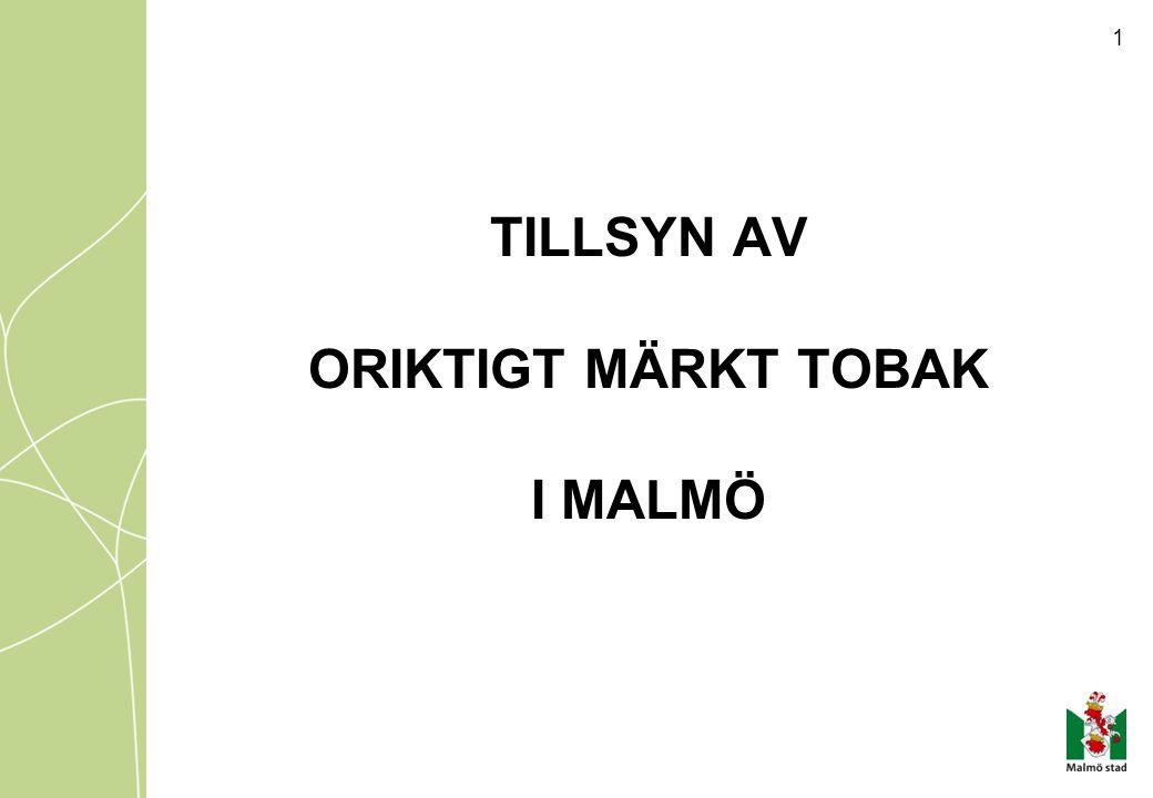 TILLSYN AV ORIKTIGT MÄRKT TOBAK I MALMÖ
