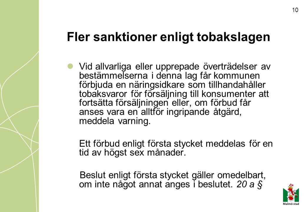 Fler sanktioner enligt tobakslagen
