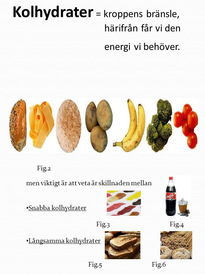 Kolhydrater = kroppens bränsle, härifrån får vi den energi vi behöver.