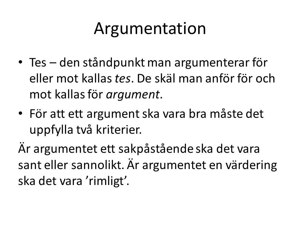 Argumentation Tes – den ståndpunkt man argumenterar för eller mot kallas tes. De skäl man anför för och mot kallas för argument.