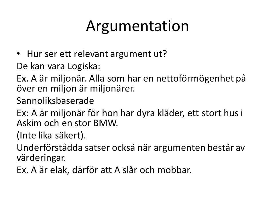 Argumentation Hur ser ett relevant argument ut De kan vara Logiska: