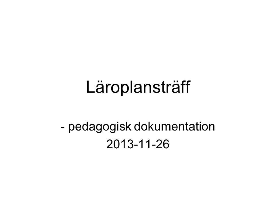 pedagogisk dokumentation 2013-11-26