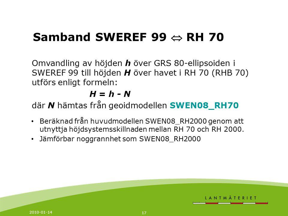 Samband SWEREF 99  RH 70 Omvandling av höjden h över GRS 80-ellipsoiden i SWEREF 99 till höjden H över havet i RH 70 (RHB 70) utförs enligt formeln: