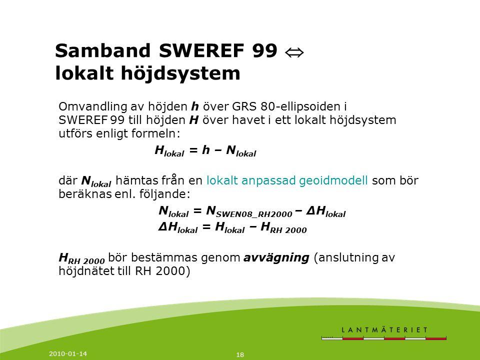 Samband SWEREF 99  lokalt höjdsystem