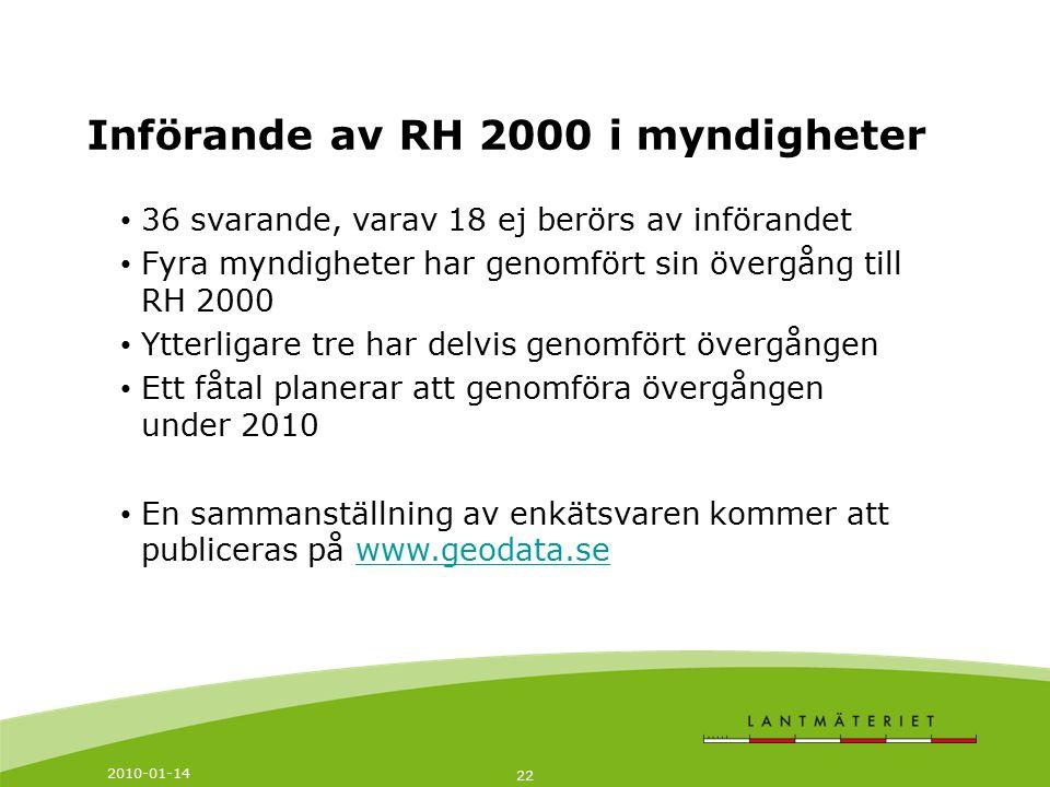 Införande av RH 2000 i myndigheter