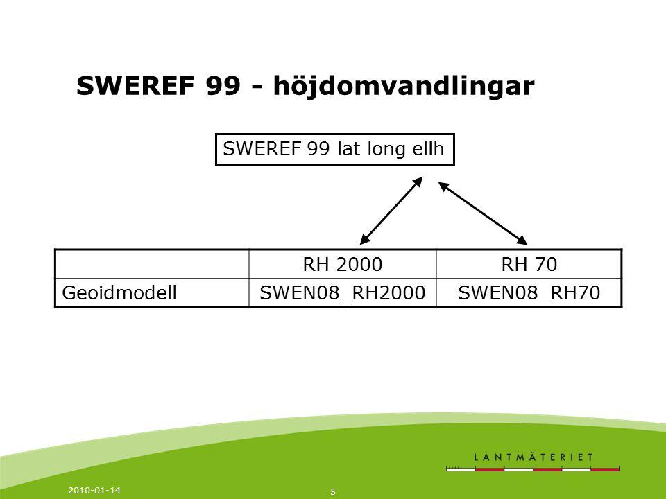 SWEREF 99 - höjdomvandlingar