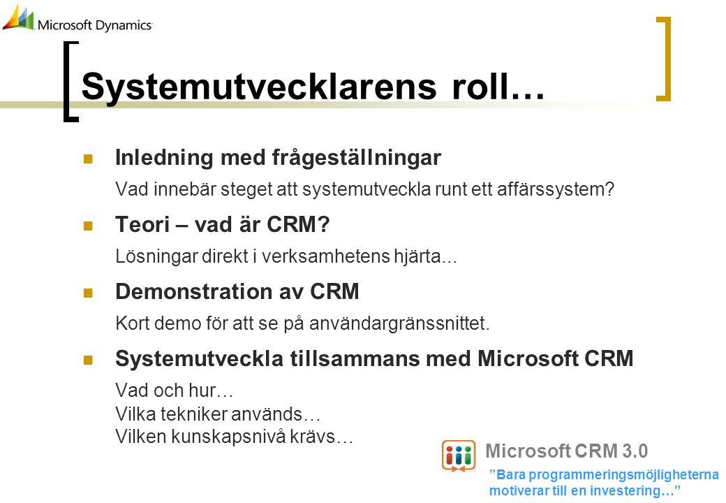Systemutvecklarens roll…
