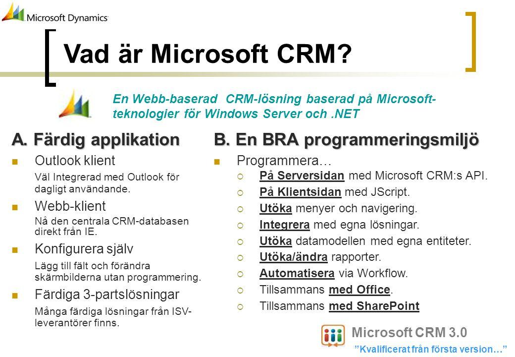 Vad är Microsoft CRM A. Färdig applikation