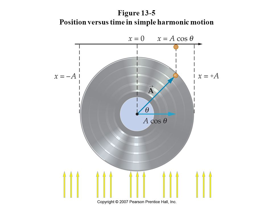 Figure 13-5 Position versus time in simple harmonic motion