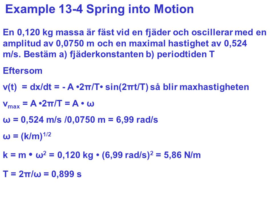 Example 13-4 Spring into Motion