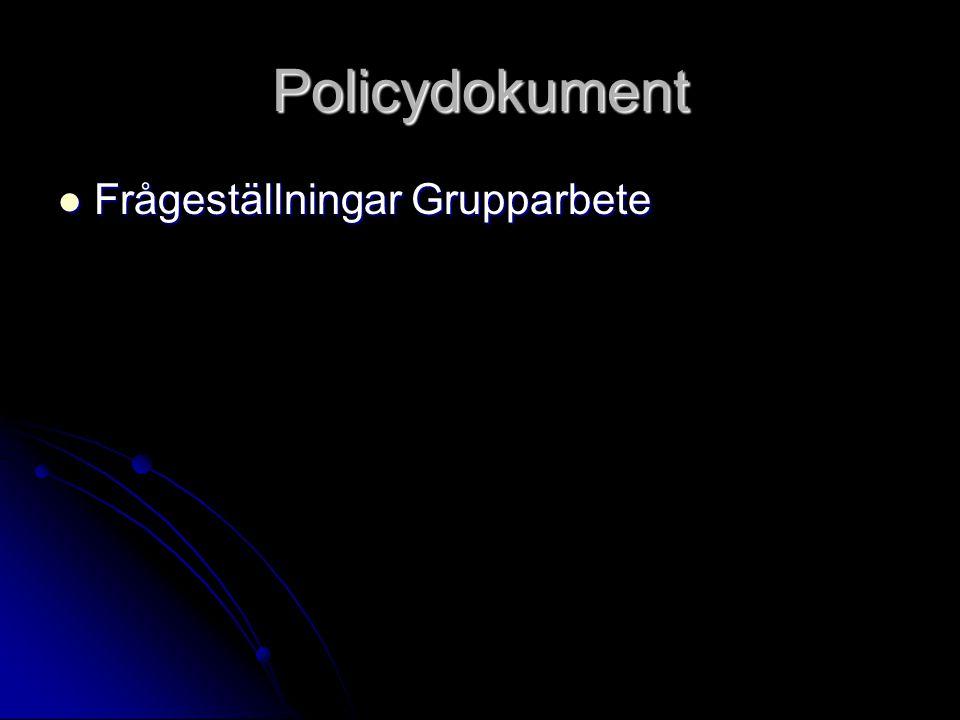 Policydokument Frågeställningar Grupparbete