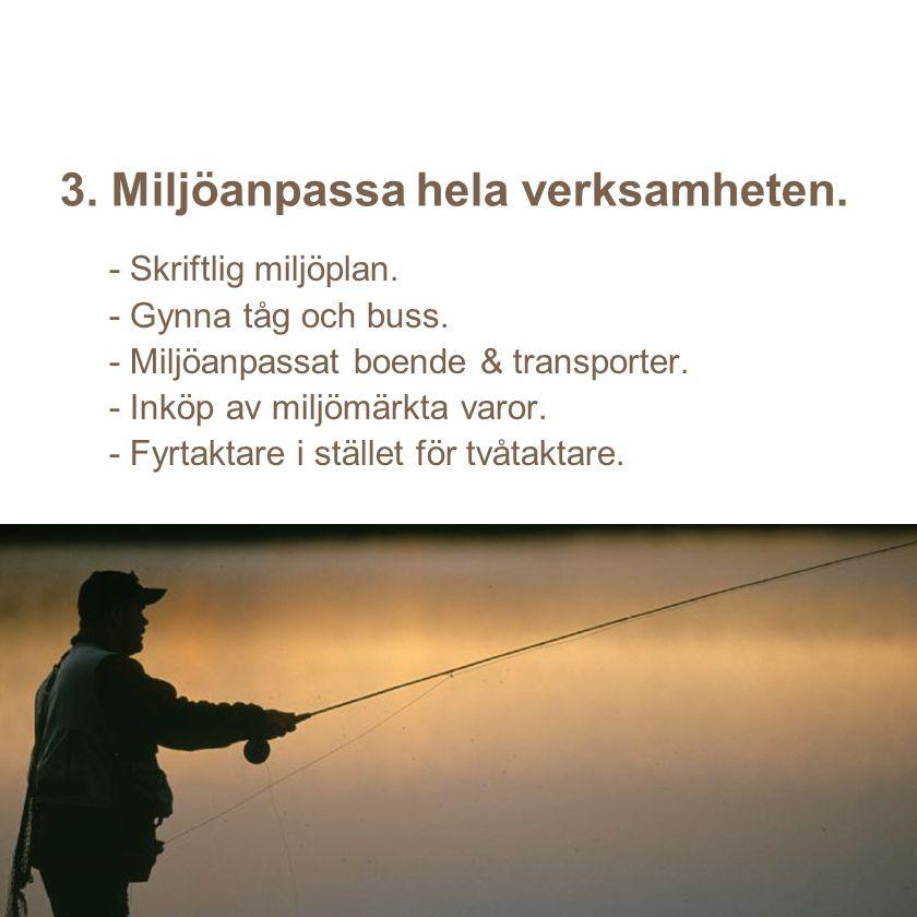 3. Miljöanpassa hela verksamheten.