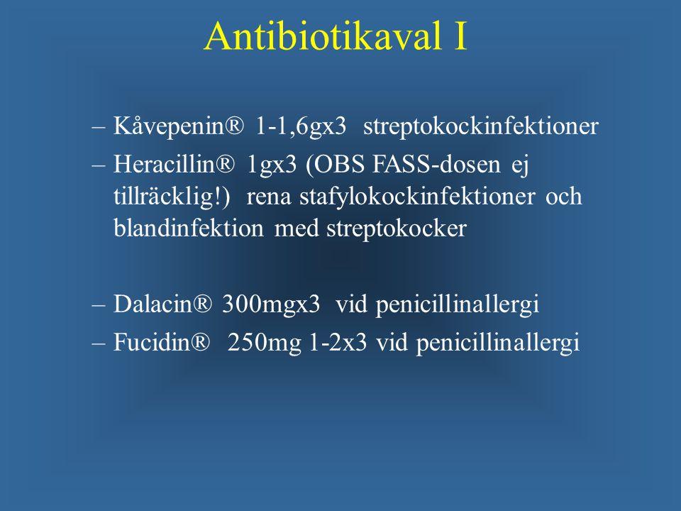 Antibiotikaval I Kåvepenin® 1-1,6gx3 streptokockinfektioner