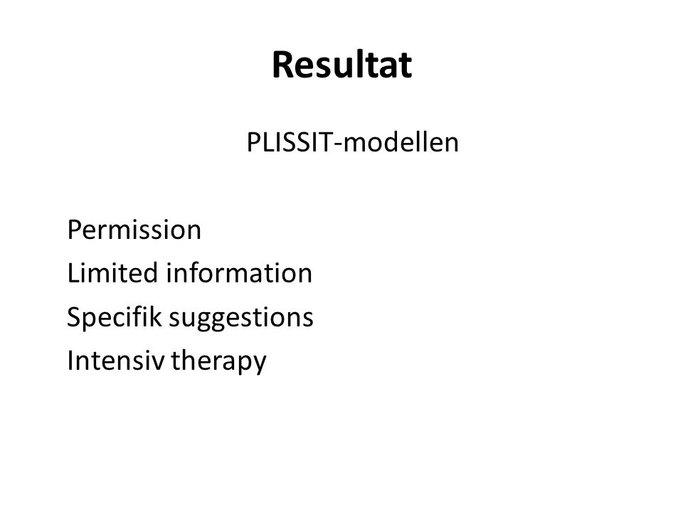 Resultat PLISSIT-modellen Permission Limited information