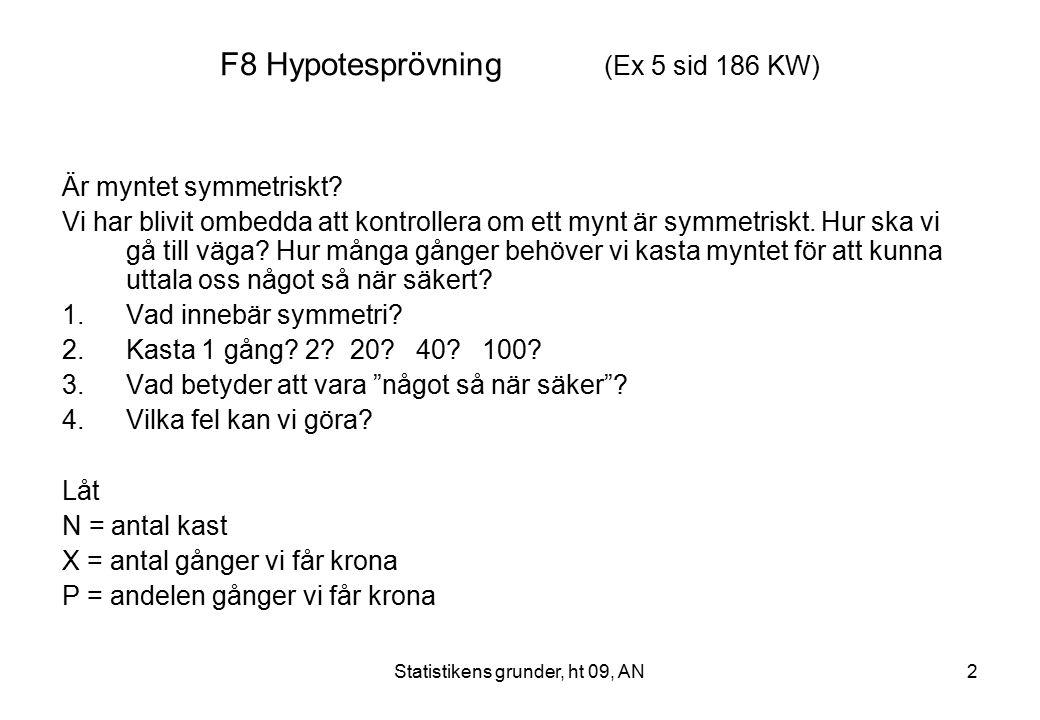 F8 Hypotesprövning (Ex 5 sid 186 KW)
