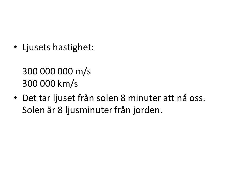 Ljusets hastighet: 300 000 000 m/s 300 000 km/s