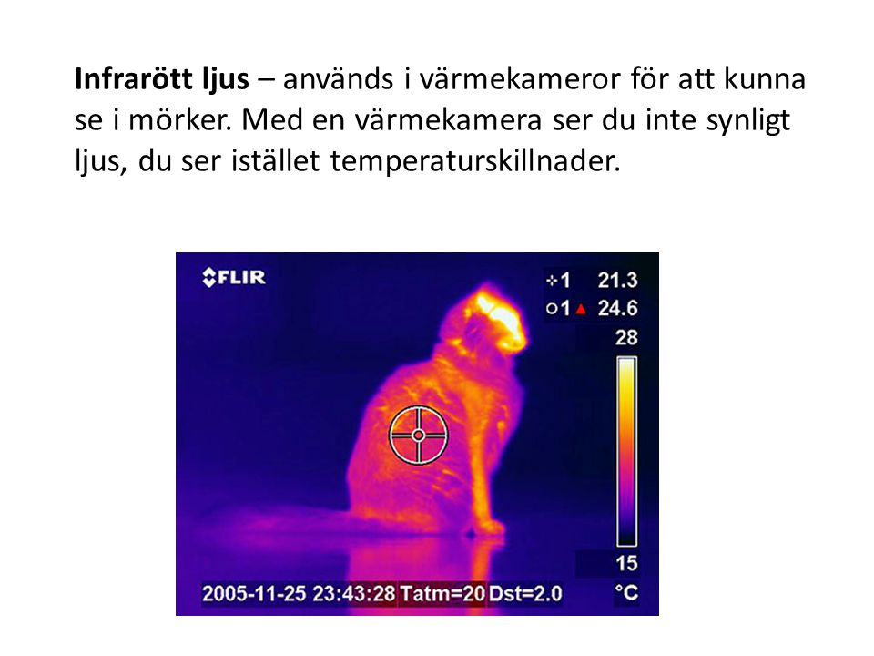 Infrarött ljus – används i värmekameror för att kunna