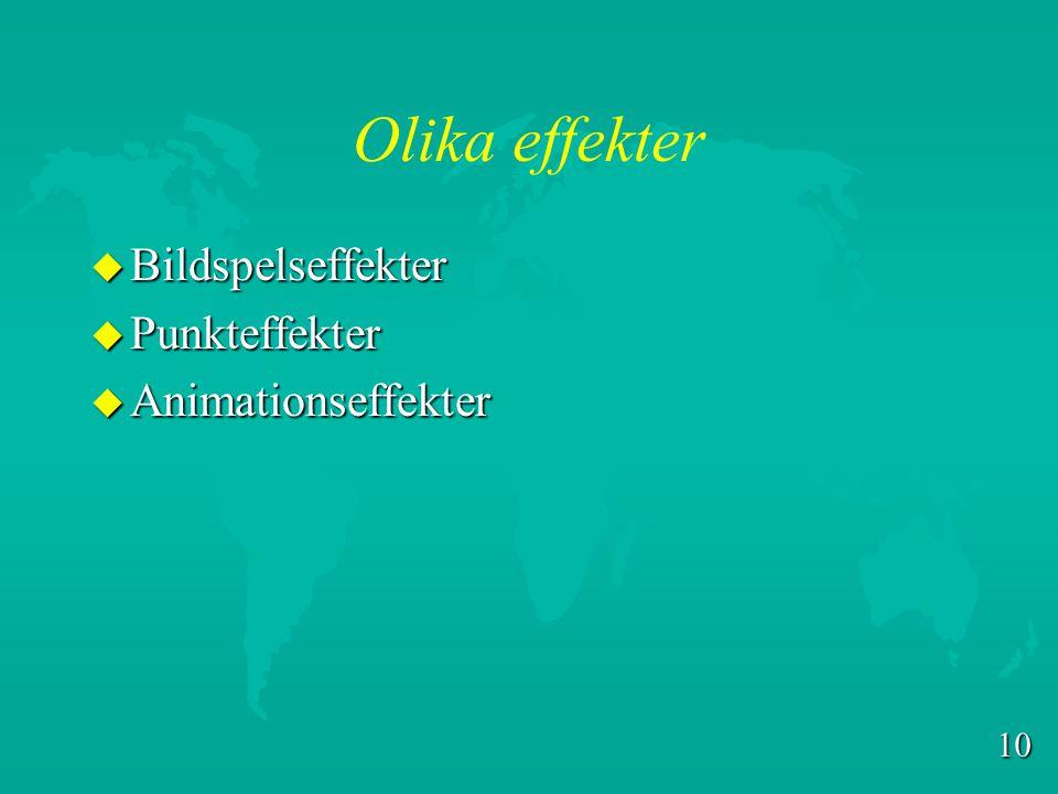 Olika effekter Bildspelseffekter Punkteffekter Animationseffekter