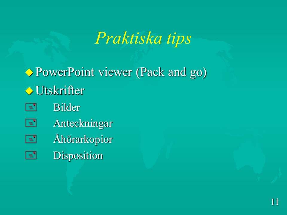 Praktiska tips PowerPoint viewer (Pack and go) Utskrifter Bilder