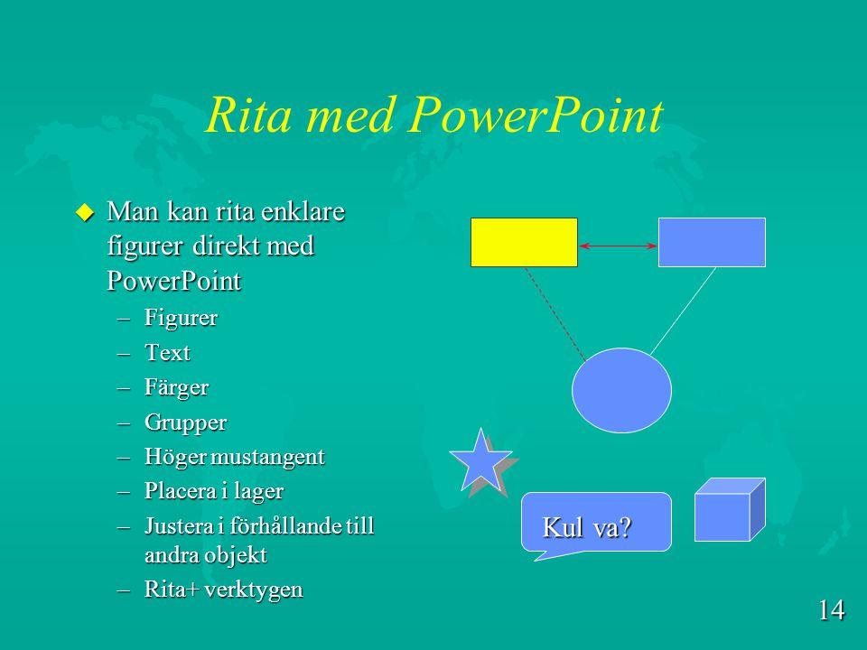 Rita med PowerPoint Man kan rita enklare figurer direkt med PowerPoint