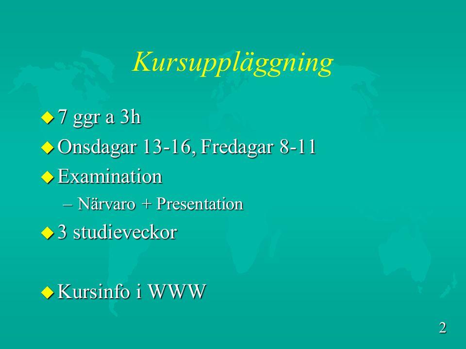 Kursuppläggning 7 ggr a 3h Onsdagar 13-16, Fredagar 8-11 Examination