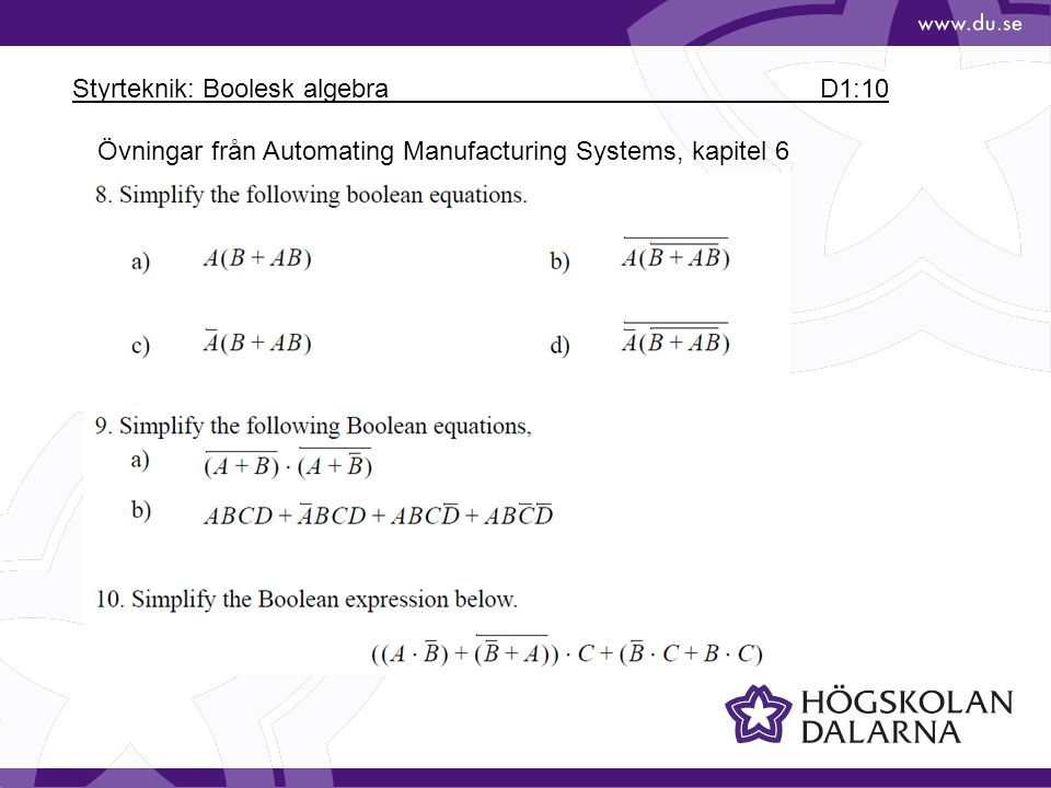 Styrteknik: Boolesk algebra D1:10