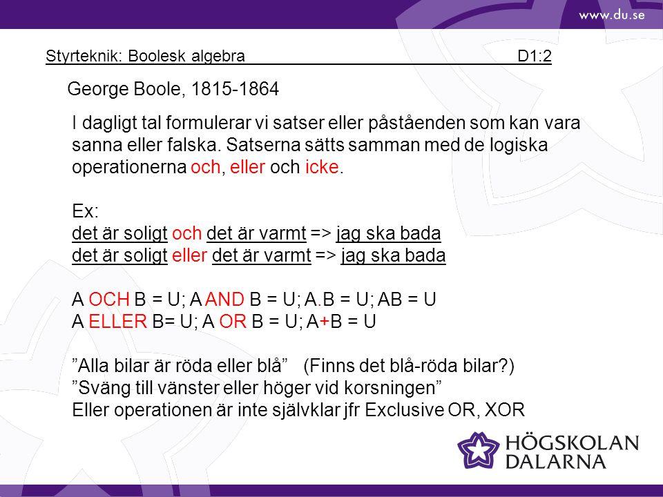 Styrteknik: Boolesk algebra D1:2
