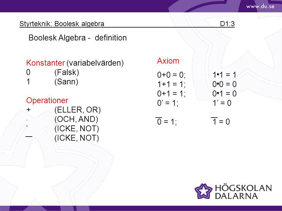 Styrteknik: Boolesk algebra D1:3
