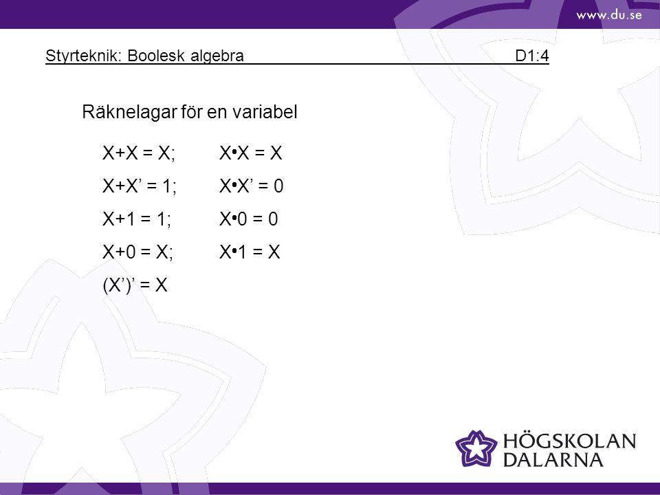 Styrteknik: Boolesk algebra D1:4