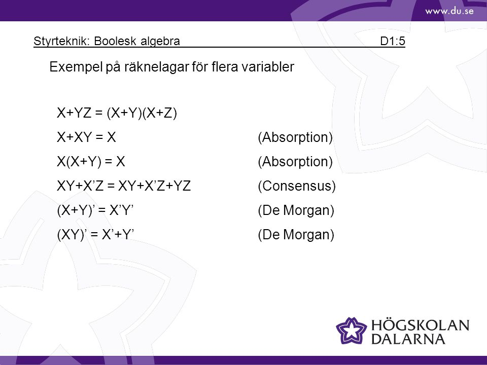Styrteknik: Boolesk algebra D1:5