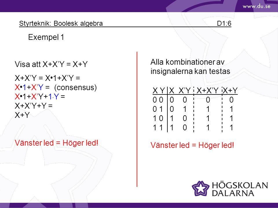 Styrteknik: Boolesk algebra D1:6
