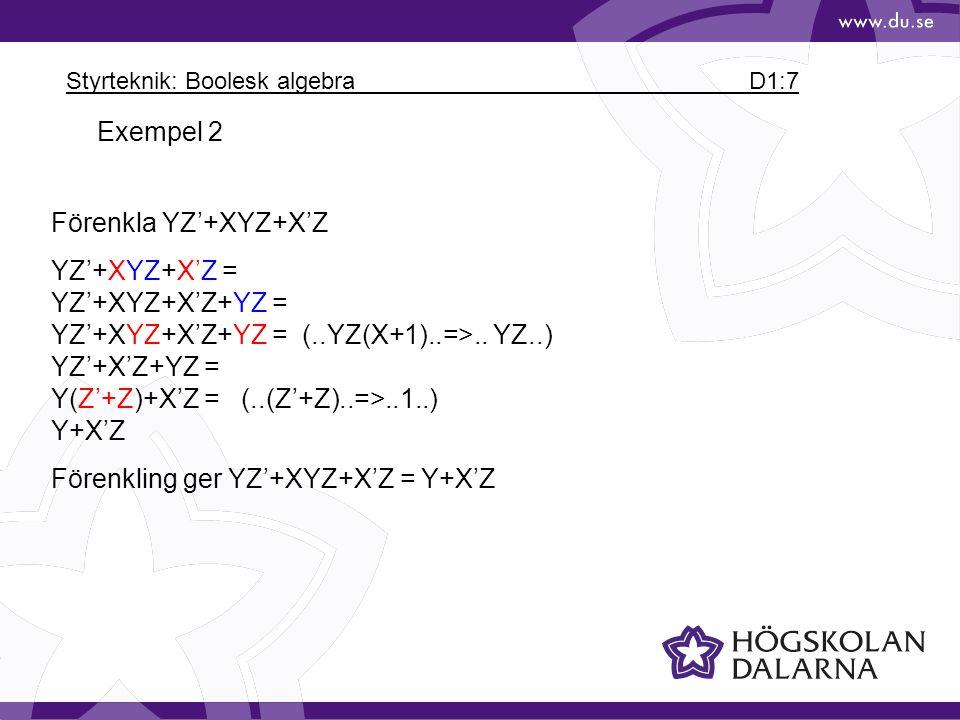 Styrteknik: Boolesk algebra D1:7