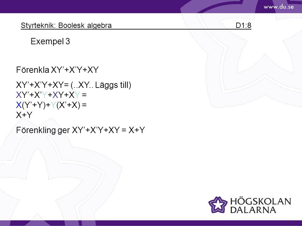 Styrteknik: Boolesk algebra D1:8