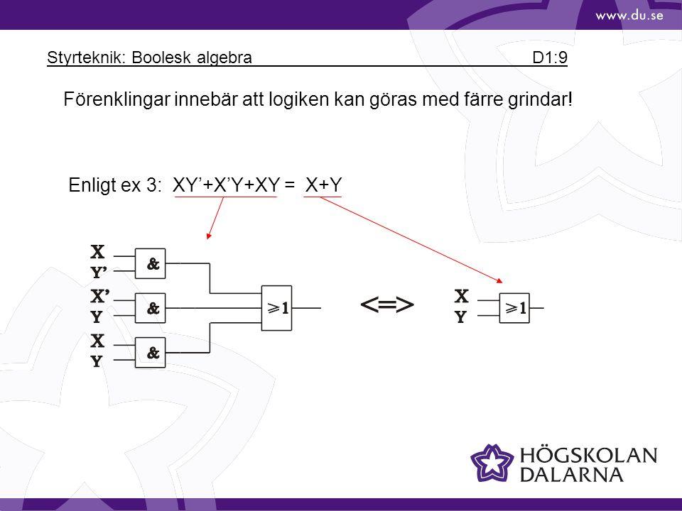 Styrteknik: Boolesk algebra D1:9