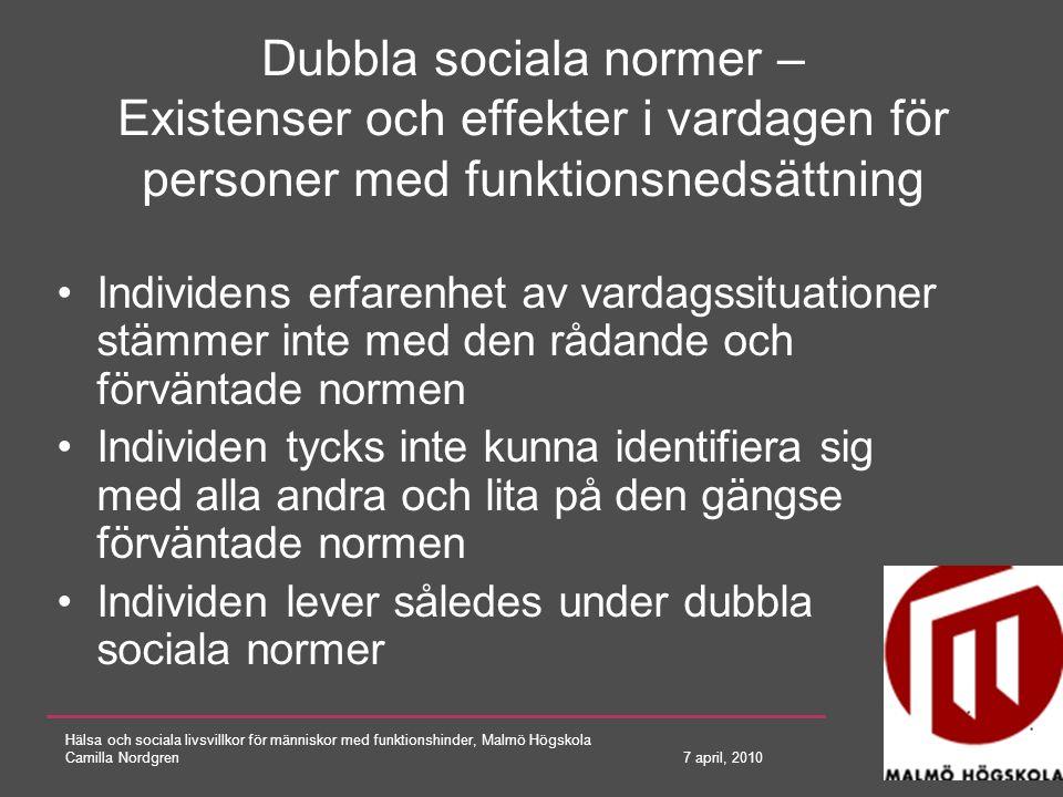 Dubbla sociala normer – Existenser och effekter i vardagen för personer med funktionsnedsättning