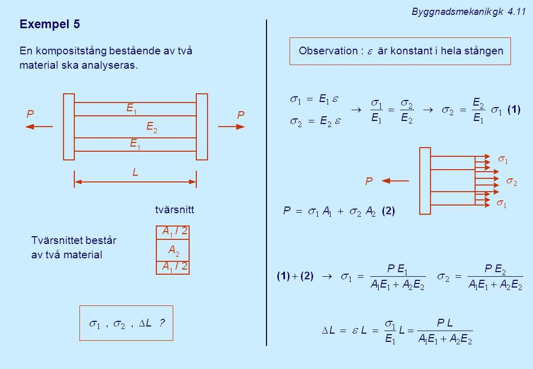 Exempel 5 En kompositstång bestående av två material ska analyseras.
