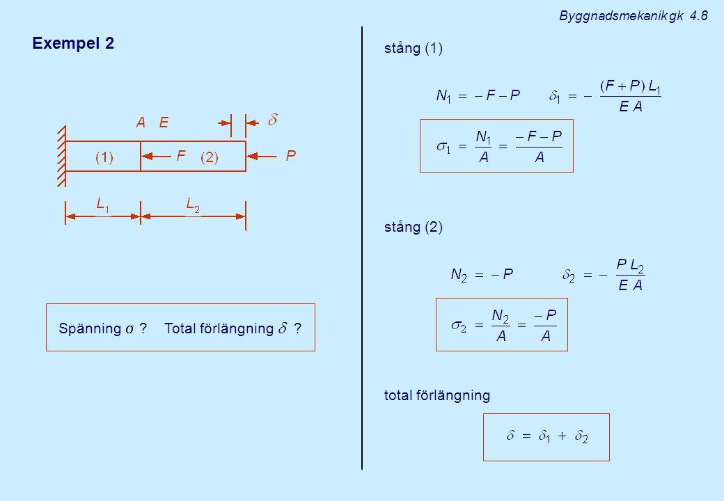Exempel 2 stång (1) stång (2) Spänning  Total förlängning 