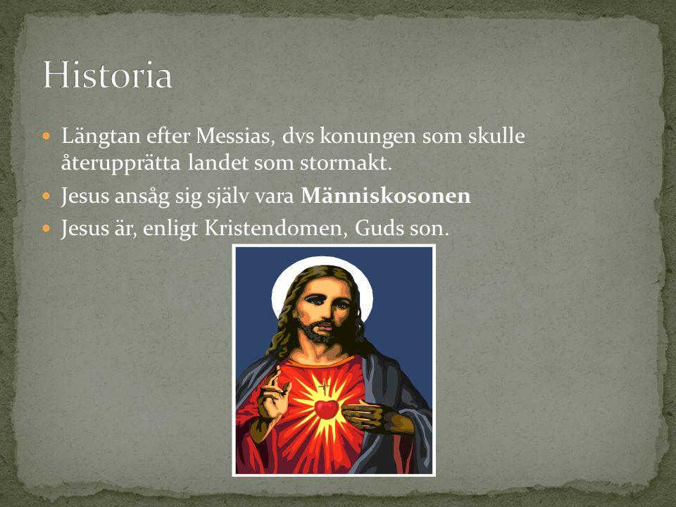 Historia Längtan efter Messias, dvs konungen som skulle återupprätta landet som stormakt. Jesus ansåg sig själv vara Människosonen.