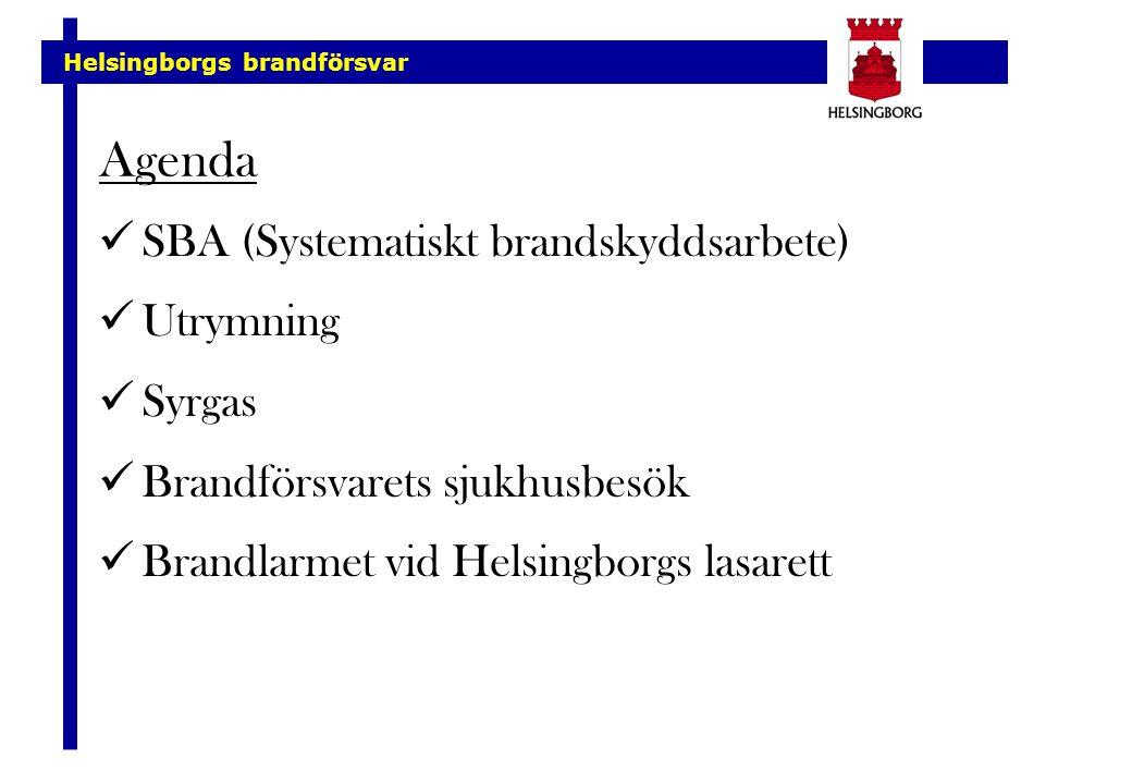 Agenda SBA (Systematiskt brandskyddsarbete) Utrymning Syrgas