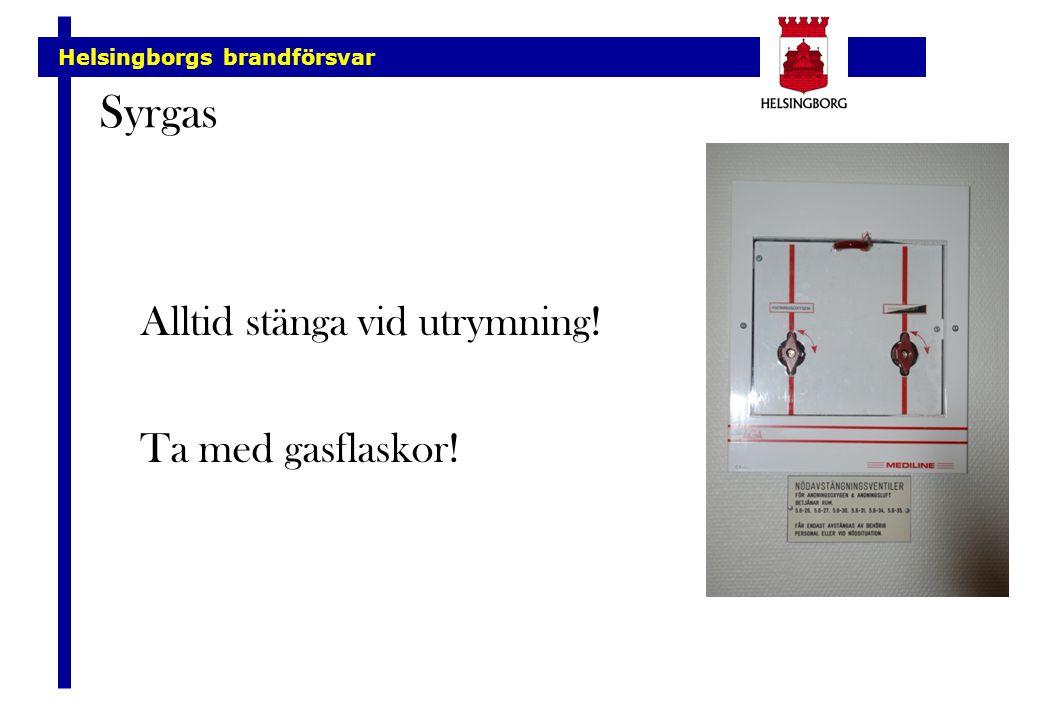 Syrgas Alltid stänga vid utrymning! Ta med gasflaskor!
