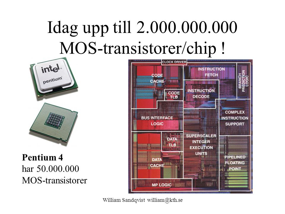 Idag upp till 2.000.000.000 MOS-transistorer/chip !