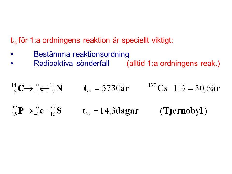 t½ för 1:a ordningens reaktion är speciellt viktigt: