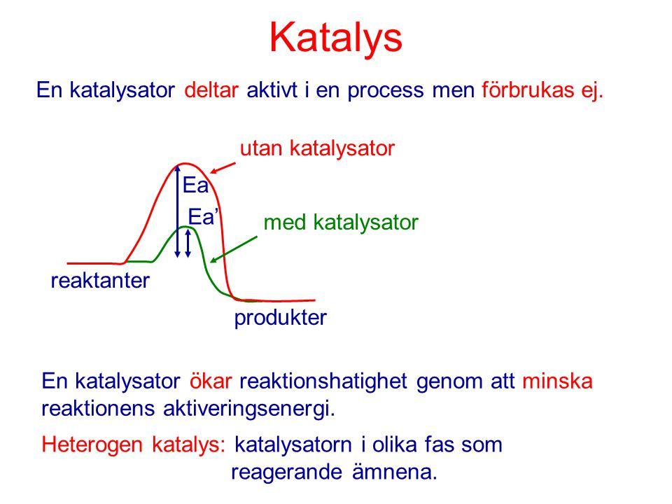 Katalys En katalysator deltar aktivt i en process men förbrukas ej.